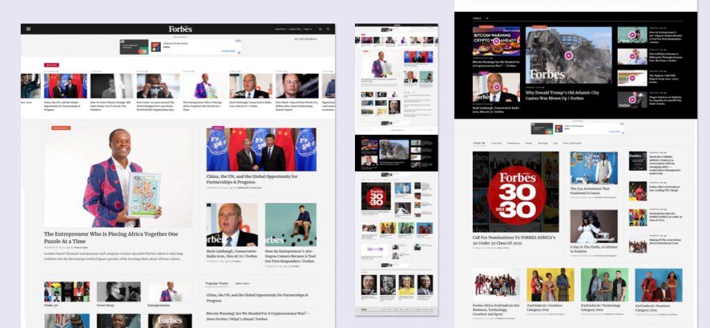UI Design of Forbes Africa Website